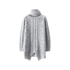f6bad02fca5 Asymmetric Turtle-neck Md-long Sweater
