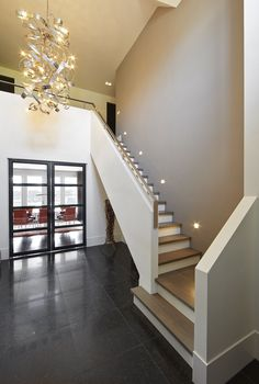 Stairs Architecture Hall marco daverveld villa front elevation maison Source: website georgian stair hall home design ideas pictures rem. Modern Stair Railing, Stair Railing Design, Staircase Railings, Wooden Staircases, Modern Stairs, Staircase Ideas, Banisters, Railing Ideas, Hallway Ideas