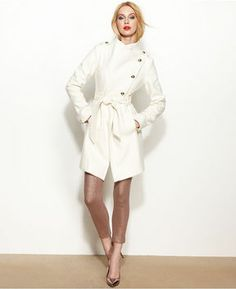 GUESS Coat, Asymmetrical Wool-Blend Belted on shopstyle.com