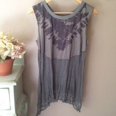 We the Free t-shirt and crochet tunic Never worn. Pristine condition. Who says opposites don't attract? T-shirt and crochet together couldn't be more amazing! Khaki green with a blank splash tunic. Reasonable offers are welcome. If you love FP check out my closet!! Free People Tops Tunics
