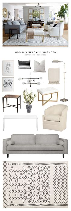 Copy Cat Chic Room Redo | Modern West Coast Living Room                                                                                                                                                                                 More