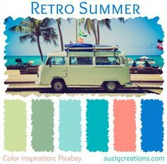 The start of an endless summer begins with getting the beach–pile your friends in the bus and get there in retro style! This south-beach color scheme features sea greens and aqua tones with bright accents of salmon pink and bright sky blue. Beach Color Palettes, Beach Color Schemes, Colour Pallette, Color Combos, Retro Color Palette, Bright Color Schemes, Retro Summer, Retro Stil, Salmon Color