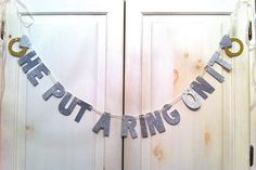 DIY He Put A Ring On It Glitter Banner -- Bridal Shower or Bachelorette Party Decoration / Photo Prop Bachelorette Party Planning, Bachlorette Party, Bachelorette Party Decorations, Baby Shower Decorations, Bachelorette Banner, Wedding Decoration, Our Wedding, Dream Wedding, Wedding Stuff