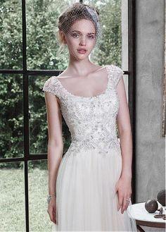 Elegant Tulle Scoop Neckline A-line Wedding Dress With Embroidery & Rhinestones
