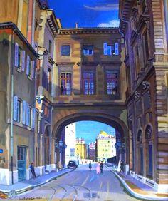 La Mairie de Marseille-Huile sur toile (106x125 cm)-Edmond Astruc