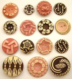 15 Vintage Chocolate & Pink Buffed Celluloid Buttons