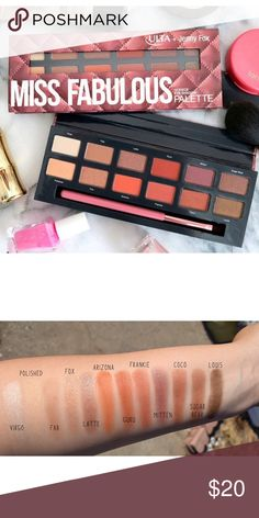 Ulta x Jenny Fox Miss Fabulous Eyeshadow Palette Collab palette with YouTube beauty guru Jenny fox. Amazing autumn colors and makeup brush included. Brand new never used 12 colors.  Save the most with bundles. I offer 25% off on bundles of 2+ items. I accept reasonable offers. No trades. I only do business on Poshmark. Ulta Makeup Eyeshadow