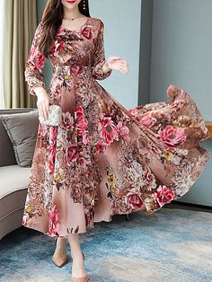 Sweet Heart Floral Printed Maxi Dress - Outfit of the day Beautiful Dress Designs, Beautiful Dresses, Awesome Dresses, Pretty Dresses, Modest Dresses, Stylish Dresses, Ladies Dresses, Simple Dresses, Summer Dresses