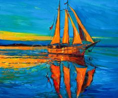 Original oil painting of sailing ship and sea on canvas Rich Golden Sunset over ocean Modern Impress Stock Photo