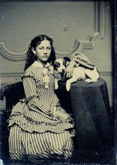 striped dress and dog   by stephanie rubiano