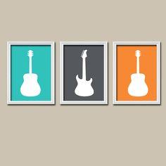 Boy GUITAR Wall Art, Music Theme Guitar Nursery Decor, Boy Guitar Bedroom Pictures, Music Rock and Roll Set of 3 Guitar art Canvas or Prints Guitar Nursery, Guitar Bedroom, Guitar Wall Art, Music Bedroom, Boy Wall Art, Nursery Canvas, Bedroom Art, Bedroom Themes, Nursery Themes