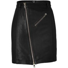 MCQ ALEXANDER MCQUEEN Black Zip Leather Pencil Skirt ($925) found on Polyvore