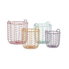 Chevron Wire Baskets - Set of 4