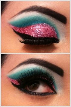Katy Perry inspired bright turquoise and pink glitter eye make up.I really just want the pink sparkly eyeshadow! Glitter Makeup Tutorial, Glitter Eye Makeup, Makeup Eyeshadow, Eyeshadow Palette, Lip Gloss, Love Makeup, Makeup Art, Beauty Makeup, Artistic Make Up