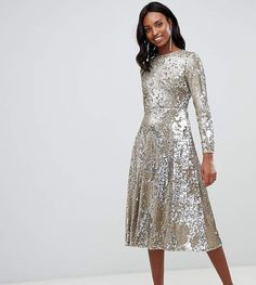 Order TFNC Tall long sleeve fit and flare sequin midi dress in gold online today at ASOS for fast delivery, multiple payment options and hassle-free returns (Ts&Cs apply). Get the latest trends with ASOS. Long Sleeve Mermaid Dress, Long Sleeve Mini Dress, Sequin Midi Dress, Midi Cocktail Dress, Couture Dresses, Fit And Flare, Ideias Fashion, Casual Dresses, Party Dress
