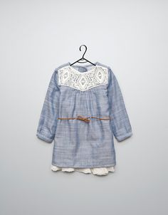 dress with embroidered neckline and belt - Dresses - Baby girl (3-36 months) - Kids - ZARA