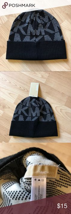 NWT Michael Kors Black Logo Beanie New with tags black one size logo beanie from Michael Michael Kors. Original retail $42; super cute - I just have a massive head. Only tried on, never worn. Smoke free, pet free household. MICHAEL Michael Kors Accessories Hats