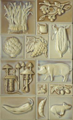 by Pratt and Larson Ceramics    Monon Vintage Illustration tiles