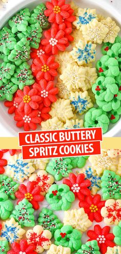 christmas cookies and candy Weihnachtspltzchen Buttery Classic Spritz Cookies! Tender, melt in your mouth cookies that are super easy to make and so festive for Christmas! # Buttery Spritz Cookies - An Easy Christmas Cookie Recipe! Easy Christmas Cookie Recipes, Christmas Sweets, Easy Cookie Recipes, Christmas Goodies, Christmas Candy, Christmas Baking, Simple Christmas, Christmas Parties, Macaroons Christmas