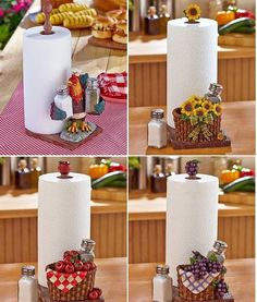 Paper Towel Holder with Shaker Set Rooster Apple Grape Sunflower Country Kitchen #Unbranded
