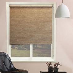 Chicology Continuous Loop Beaded Chain Roller Shade, Candyfloss - Natural Woven, Privacy - Candyfloss Vanilla, 31 inchW X 64 inchH, Beige