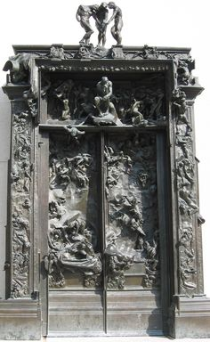 "OUTSIDE the Musee de Rodin! The Gates of Hell (French: La Porte de l'Enfer) is a monumental sculptural group work by French artist Auguste Rodin that depicts a scene from ""The Inferno"", the first section of Dante Alighieri's Divine Comedy. Gustave Dore, Auguste Rodin, The Kiss, Salvador Dali, Michelangelo, Monuments, Rodin Museum, Gates Of Hell, Dantes Inferno"
