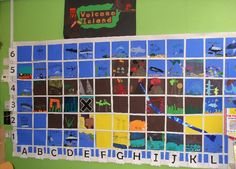 Great idea of merging art with maths - children paint one section of a volcanic map and all the images put together makes a fantastic interactive display about co-ordinates.