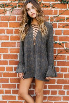 lace up tunic top in gray