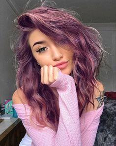 Coloredhairstyles ombre hair, hair dye, hair looks, fun hair color, hai Hair Dye Colors, Cool Hair Color, Hair Color Ideas, Rainbow Hair Colors, Cute Hair Colors, At Home Hair Color, Ombre Hair, Wavy Hair, Hair Bangs