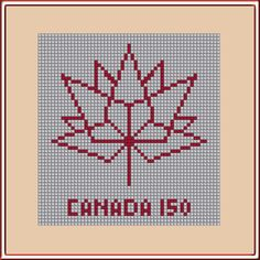 Canada 150 Logo Geometric Maple Leaf PDF Pattern Instant Download Red White Monochrome Patriotic Feuille d'érable by LakeviewNeedlework on Etsy