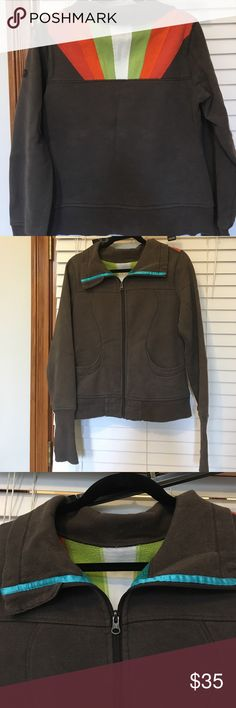 Lululemon jacket Brown lululemon scuba jacket   Detail of back in picture, teal ribbon around collar  size 8  good condition lululemon athletica Tops Sweatshirts & Hoodies