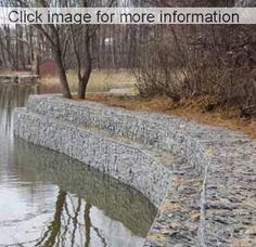 Looking for river bank protection? Check out these flood and erosion control methods, low cost gabions provide excellent flood protection. Gabion Retaining Wall, Retaining Wall Design, House Near River, Retaining Wall Construction, Flood Wall, Lake Landscaping, Farm Pond, Outdoor Ponds, Dry Stone