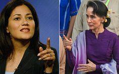 "Mishal Husain and Aung San Suu Kyi. ""Aung San Suu Kyi in anti-Muslim spat with BBC presenter"" http://www.telegraph.co.uk/news/worldnews/asia/burmamyanmar/12204113/Aung-San-Suu-Kyi-in-anti-Muslim-spat-with-BBC-presenter.html"