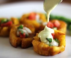Crispy Fried Tostones Cups - may be filled with various delicacies, chile sauce, picadillo, habanero shrimp, or pico de gallo, etc