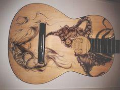Sea guitar by Joy Pereira #guitar #art #wood #mermaid #octopus