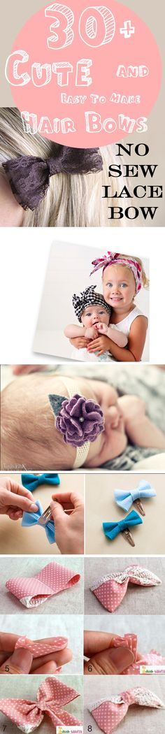 30+ Cute and Easy To Make Hair Bows  #hairbow #diy