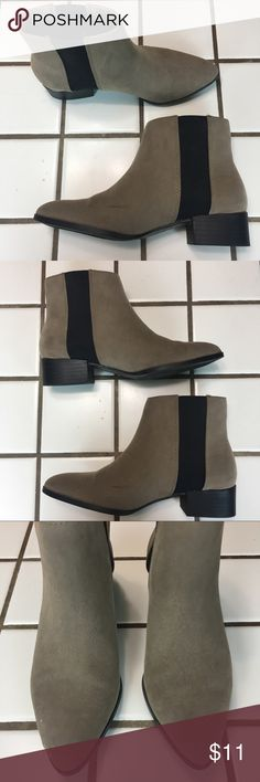H&M Faux Suede Ankle Boots Size 6 (EURO 36) Good condition. Only has been worn 1-2 but it does have natural markings (as seen in pictures) Size EURO 36 U.S 4.5 Faux seude  Black elastic on both sides for easy put on/off  Retail price is $34.99 H&M Shoes Ankle Boots & Booties
