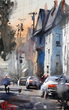 Kai Fine Art is an art website, shows painting and illustration works all over the world. Urban Landscape, Landscape Art, Landscape Paintings, Landscapes, Watercolor Architecture, Watercolor Landscape, City Painting, Oil Painting Abstract, Watercolor Artists