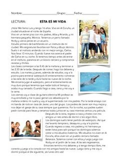 A Spanish reading worksheet. Luis tells us about his family,friends,hobbies,daily routine and school. Learning Spanish For Kids, Teaching Spanish, Spanish Lesson Plans, Spanish Lessons, Spanish Teacher, Spanish Classroom, Spanish 1, Learn Spanish, Spanish Grammar
