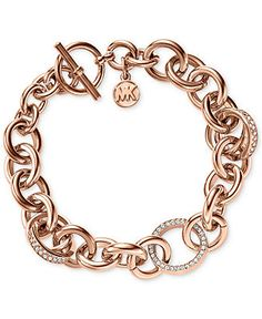 Michael Kors Rose Gold-Tone Crystal Toggle Bracelet - Macys