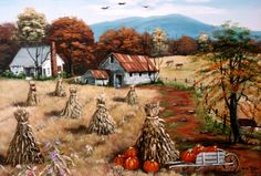 Folk Art Landscape Corn Stalks Morning Glory Pumpkins Autumn Barn Farm House Mountain Arie Reinhardt Taylor by jagartist on Etsy