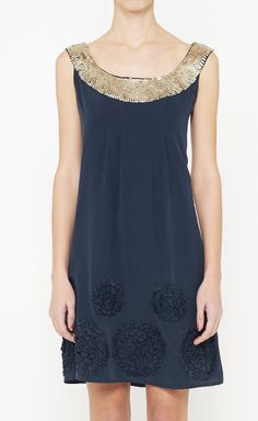 DRESSES:: TEXTURE, EMBELLISHMENTS, RICH NAVY & GOLD COMBO ~~ Sold out but love the design so much, I had to pin! NANETTE LEPORE Navy And Gold Dress | VAUNTE @Vaunte