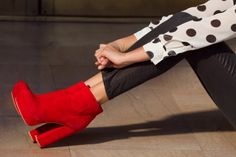 red red red blouses, polka dots, red boots, dolce vita, red shoes, heel, red booti, bold colors, black