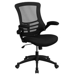 Mid-Back Black Mesh Swivel Task Chair with Mesh Padded Seat and Flip-Up Arms - http://activelivingessentials.com/home-essentials/arm-chairs/mid-back-black-mesh-swivel-task-chair-with-mesh-padded-seat-and-flip-up-arms