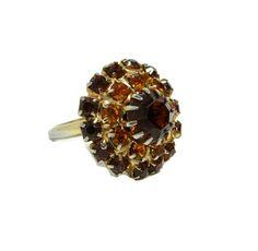 Vintage Rhinestone Ring - Vintage Topaz & Rootbeer Brown Glass Rhinestones Prong Set - OSFA - Adjustable Ring