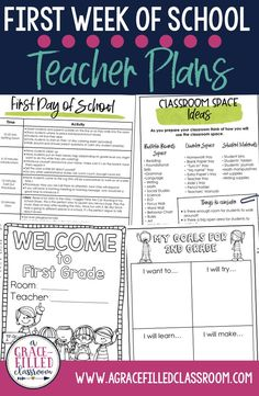 First day of school lesson plans and first week of school support, plus all you need to have a successful first week of school and rest of the year! Set your students up for success from the beginning! First Grade first week of school plans and second grade first grade of school plans!  #firstweekofschool #backtoschoolideas #agracefilledclassroom