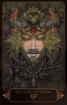 Featured Card of the Day - King of Earth - Dreams of Gaia by Ravynne Phelan-Oracle cards. Mystical, visionary and fantasy art. Discover some of the most spiritual artwork by amazing artist from around the world…. Gaia, Tarot By Cecelia, Lotus, Shadow Art, Visionary Art, Oracle Cards, Tarot Decks, Fractal Art, Deities