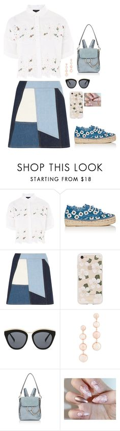 """""""Blue"""" by see-starxs-above ❤ liked on Polyvore featuring Topshop, Loeffler Randall, Victoria, Victoria Beckham, Sonix, Le Specs, Rebecca Minkoff, Chloé, Summer, white and yellow"""