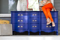 9 Drawer Cobalt Blue Dresser with Bright Gold Ornate Pulls. - this is the color i am painting my bedroom set!