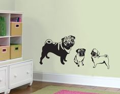Mama pug and two pug puppies wall decal by slaps on Etsy. $34.00, via Etsy.